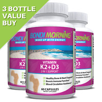 Vitamin K2 + D3 Supplement, High Potency For Bone & Heart Health, 60 Vegan Caps