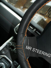 FOR NISSAN SILVIA S12 BLACK LEATHER STEERING WHEEL COVER ORANGE DOUBLE STITCHING