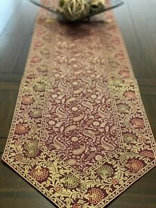 Table Runner/ Table Decor, Brocade, 80 Inch, Silk, Paisley, Formal, Red & Gold