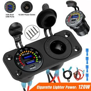 12V 4.8A Dual USB Car Fast Charger Socket Power Outlet LED Voltmeter Waterproof
