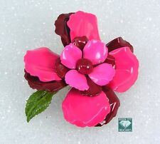"Vintage Estate Pin Brooch Red Pink Enamel Layered Flower 2.5"""