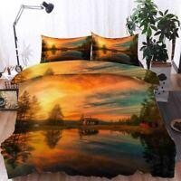 Orange Thick Sky 3D Printing Duvet Quilt Doona Covers Pillow Case Bedding Sets