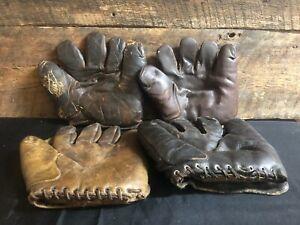 Lot of 4 Vintage 1930/40s HOF Baseball Gloves Old Antique