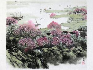 """Chinesische Malerei """"Blühendes Ufer"""" Landschaftsmalerei Tuschemalerei Bild"""