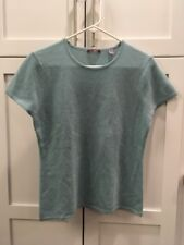 Cullen Blue Short Sleeve Cashmere Sweater, Size Large