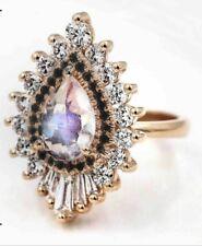 Art Deco White Baguette Round Diamond Gatsby Engagement Ring 14K Rose Gold