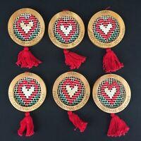 Set of 6 VTG 1985 Hallmark Christmas Ornaments Wooden Sewn Heart USA QX-507-2