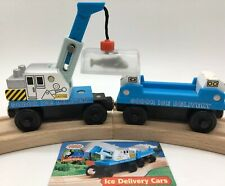 Thomas Wooden Railway Ice Delivery Cars Set Vintage Crane SHARK Cargo Train 2003