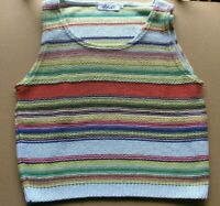 ULDAHL woman sleeveless shirt cotton blend multicolored rows 80 style size eu L