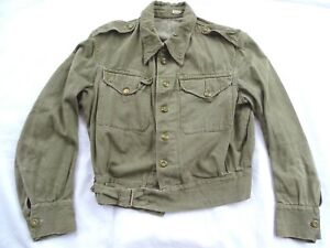 RARE WWII VADC 1945 BRITISH ARMY DENIM OVERALLS BLOUSE / BATTLEDRESS STYLE