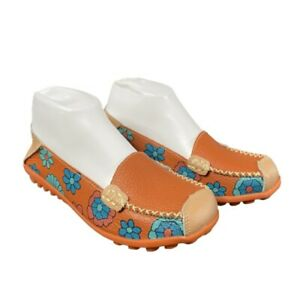 Leather Driving Moccasins Women's Size 8 Comfort Flats Remote Control Floral EUC