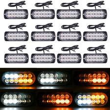 12x Amber/White Car 12 LED Emergency Warning Flash Strobe Light Kit Bar Truck