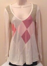 FREE PEOPLE Diamond Argyle Long Sleeve Babydoll Pullover Top Sz L Large EUC!
