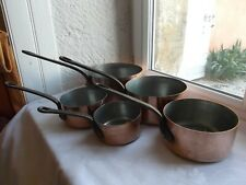 French solid 5 copper pots saucepans metal  rivets thickness 1 mm. marked