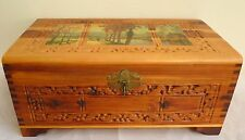 Vintage Hand-carved Wood Treasure Box w/ Landscape Picture Print Mirror Inside
