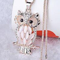 Retro Damen Kristall Eulen Anhänger Halskette Lange Eulenkette Modeschmuck Owl