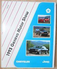 rare Dossier de Presse Chrysler Jeep Geneve Motorshow 1993 - Viper Cherokee