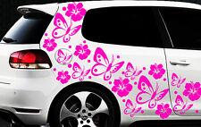 122-parties Autocollants Pour Voiture Hibiscus Fleurs Papillons Hawaï j