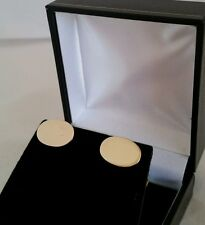 Antique 15ct Yellow Gold oval cuff links. . Circa 1910