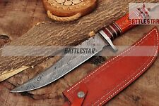 14.5 INCHES TWIST PATTERN DAMASCUS STEEL HUNTING BOWIE KNIFE HANDLE COLOR WOOD