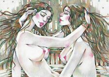original drawing A3 274RM art by samovar woman nude color pencil 2020