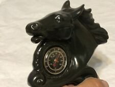 MyEMPORIUM-1950's Small Porcelain Horse Head Desk Thermometer-Black Vintage-RARE