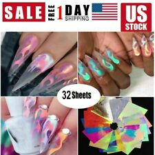 32pcs Holographic Fire Flame Hollow Stencil Stickers Manicure Decal Nail Art Diy