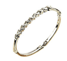 Quality Platinum Plated Bracelet Bangle 10 Swarovski Element Crystals Girl Prom