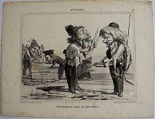 DAUMIER LITHOGRAPHIE ORIGINALE TIRAGE SUR BLANC, ACTUALITÉS N° 34, 1854