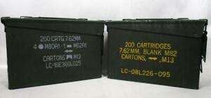 2 Military Surplus Metal Ammo Can 200 Cartridge Storage 30 Cal 7.62mm M19A1 M80