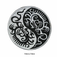 Yin Yang Dragon Embroidered Patch Iron on Sew On Badge For Clothes Badges etc