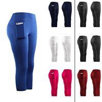 Women Stretch Yoga Leggings Fitness Running Gym Sports Pockets Active Pants UK