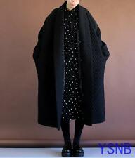 Black Women Very Loose Long Winter Trench Coat Oversized Jacket Quilted Outwears