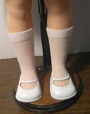 "VINTAGE WHITE VINYL SLIP ON MJ SHOES & SOCKS fit ST-19"" SHIRLEY TEMPLE DOLL"