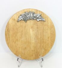 Dansk Wood Cutting Board Silver Aluminum Accent Leaves Grapes Berries Round