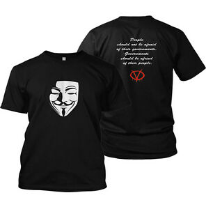 V For Vendetta t-shirt Anarchy  99% Fawkes Mask Anonymous rally t shirt disobey