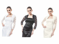 New Women Wedding Satin Bolero Shrug Bridal Prom Jacket Lace 3/4 Sleeve  S-XXL