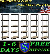 LOT OF 5 EDSAL 5-SHELF SHELVING RACK BLACK COMMERCIAL INDUSTRIAL 48X24X72 NEW
