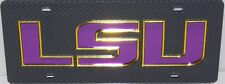 LSU TIGERS CARBON FIBER LOOK LICENSE PLATE INLAID ACRYLIC MIRROR CAR TAG