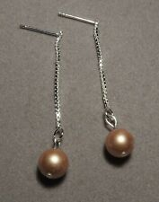 Vintage GOLD Pearl on Silver Box Chain Stud Earrings       (p91)