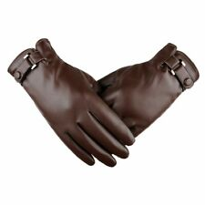 Men's Gloves Dressy PU Leather Warm Thermal Lined Wrist Strap Touch Screen Glove
