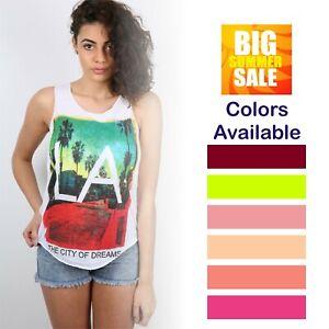 Women Ladies L A  Print Vest Trendy Summer Tank  Shirt Fashion Top
