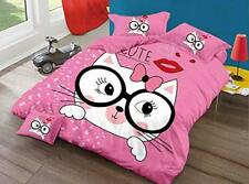 THD Pink Kitty Cartoon Printed Full Size Double Bedsheet With 2 Pillow Cover