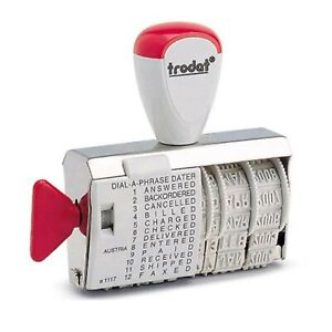 DATE STAMP RUBBER PAID RECEIVED DIAL A PHRASE MULTI WORD TRODAT 1117 2021