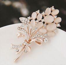 Fashion Opal Stone Rhinestone Rose Gold Flower Bouquet Brooch Pin Wedding Bridal