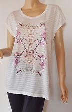 KAFFE  zartes T-Shirt Ausbrennmuster Mod.ANNIE weiß Blütenprint Gr. XS - Neu