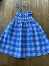 Crewcuts Girl Linen Blue White Strapless Summer Dress Size 6