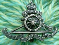 WW1 First Hants Royal Garrison Artillery Volunteers Cap Badge Slider ANTIQUE Org