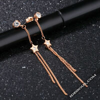 18K Gold Ohrringe vergoldet Ohrstecker Luxus Damen Schmuck Rosegold Stern 38€