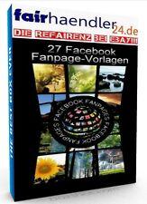 27 FACEBOOK FANPAGES Pages Fan Page Vorlagen FANPAGE Templates FANS PLR LIZENZ